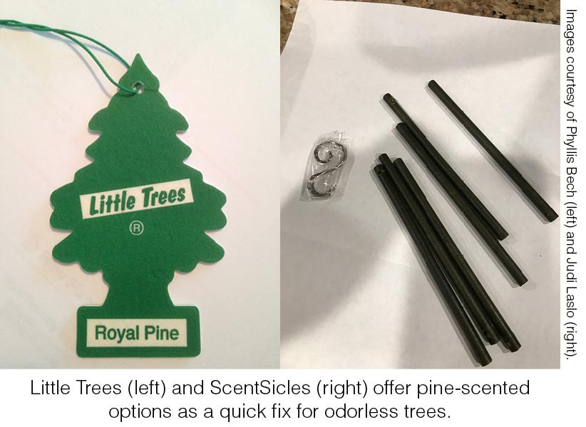 Little Trees (left) and ScentSicles (right) offer pine-scented options as a quick fix for odorless trees. Images courtesy of Phyllis Bech (left) and Judi Laslo (right).