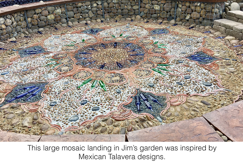 This large mosaic landing in Jim's garden was inspired by Mexican Talavera designs.