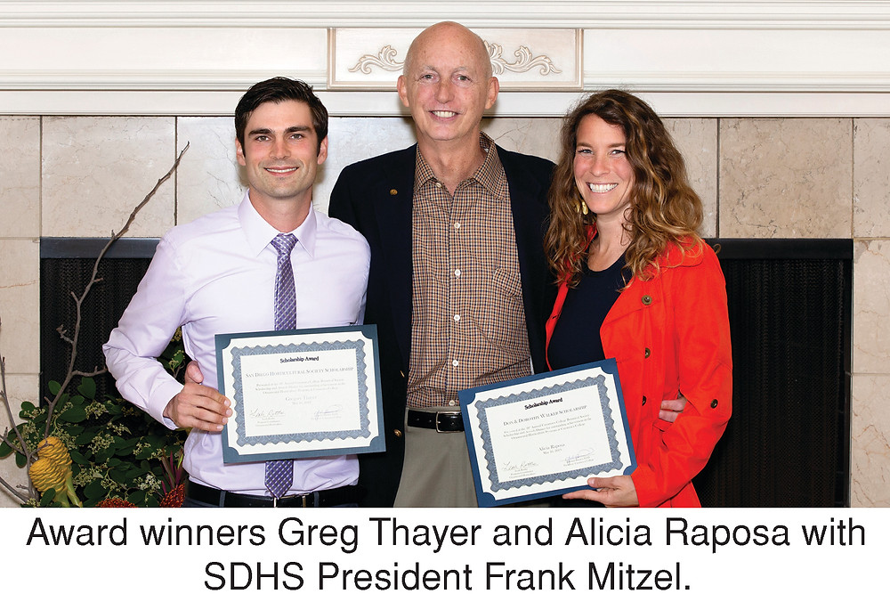 Award winners Greg Thayer and Alicia Raposa with SDHS President Frank Mitzel, .