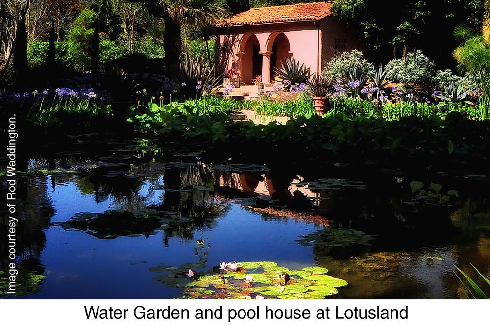 Water Garden and pool house at Lotusland. Image courtesy of Rod Waddington.