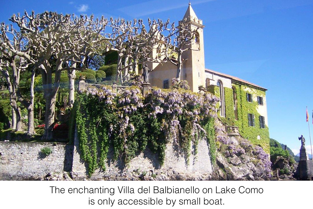 The enchanting Villa del Balbianello on Lake Como is only accessible by small boat.