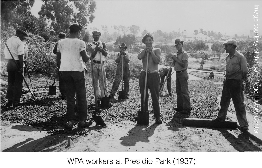 WPA workers at Presidio Park (1937). Image courtesy of San Diego History Center.