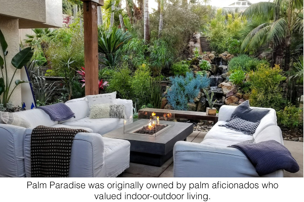 Palm Paradise was originally owned by palm aficionados who valued indoor-outdoor living.