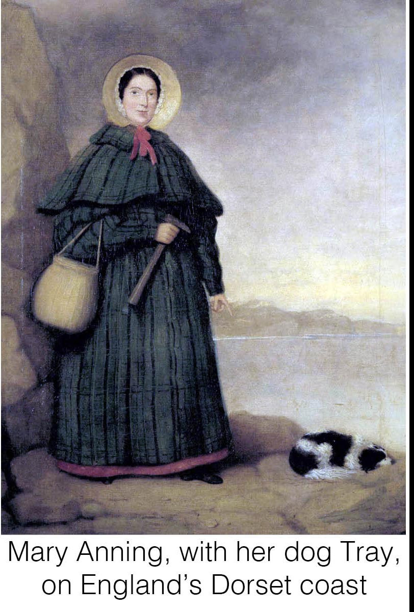 Mary Anning, with her dog Tray, on England's Dorset coast.