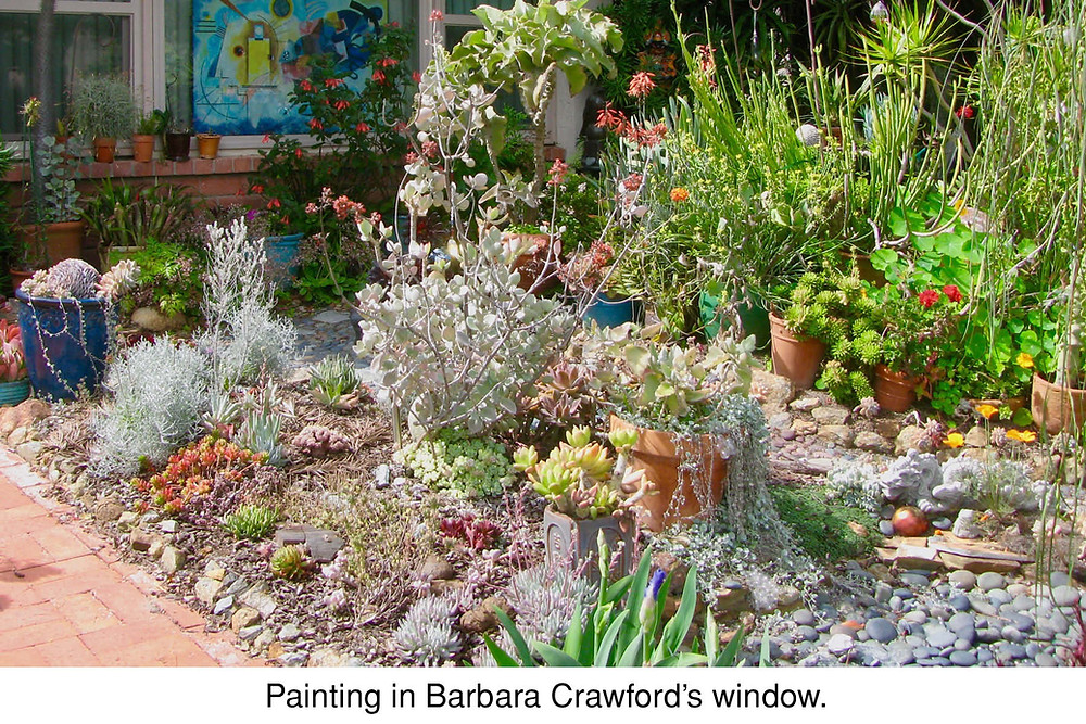 Painting in Barbara Crawford's window.