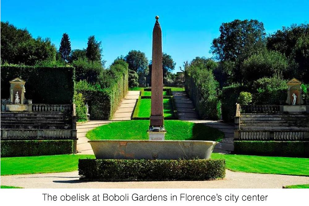 The obelisk at Boboli Gardens in Florence's city center.