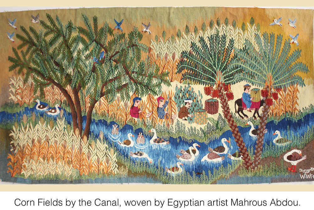 Corn Fields by the Canal, woven by Egyptian artist Mahrous Abdou.
