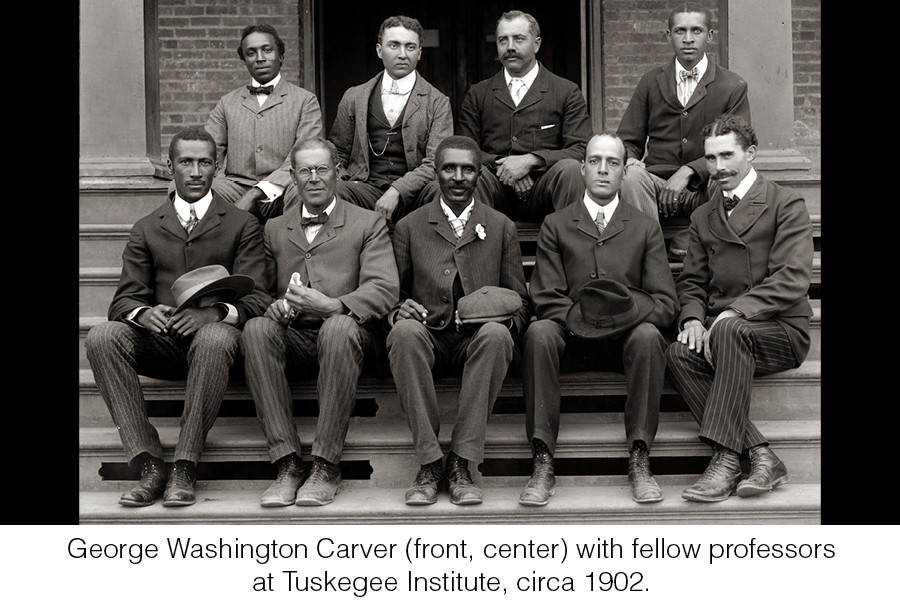 George Washington Carver (front, center) with fellow professors at Tuskegee Institute, circa 1902.