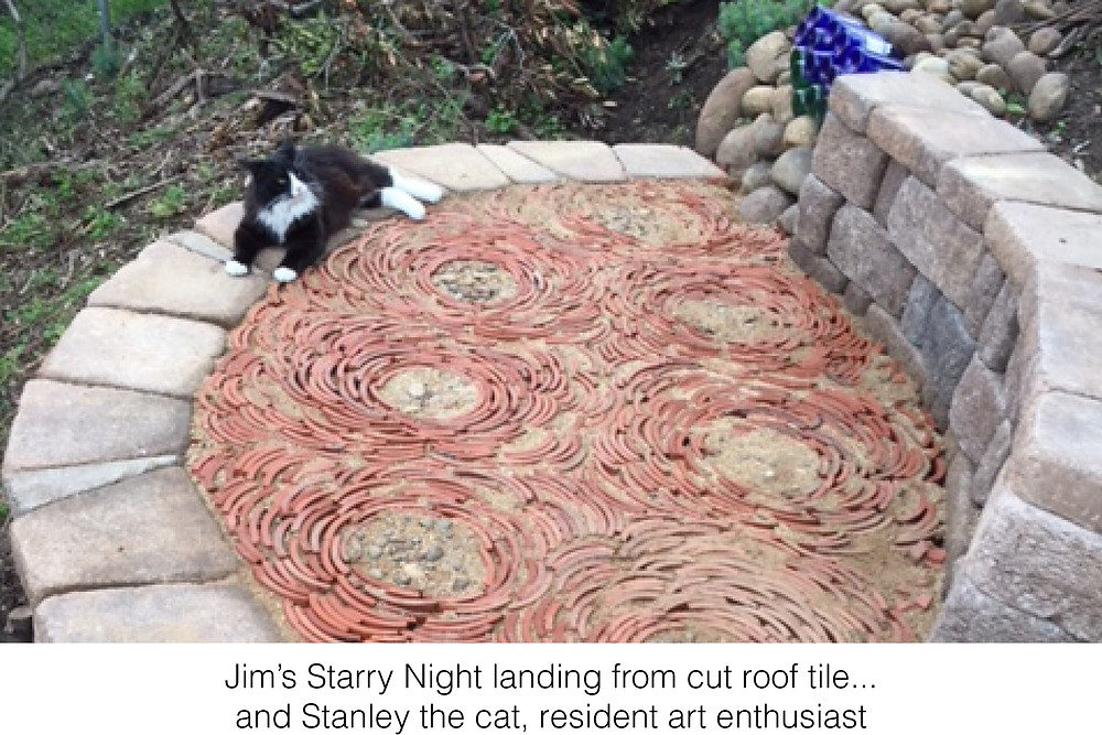 Jim's Starry Night landing from cut roof tile...and Stanley the cat, resident art enthusiast.