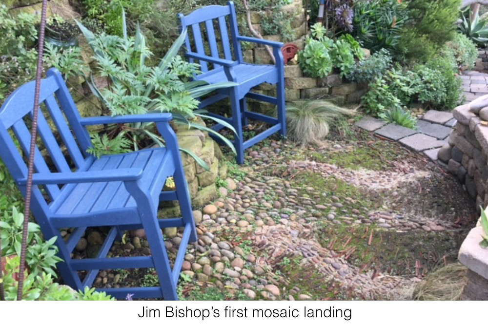 Jim Bishop's first mosaic landing, made from materials found on the hillside on his property.