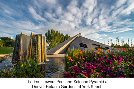 The Four Towers Pool and Science Pyramid at Denver Botanic Gardens at York Street.