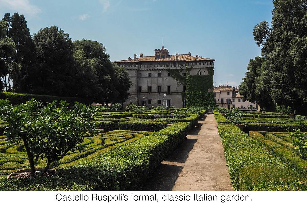 Castello Ruspoli's formal, classic Italian garden.