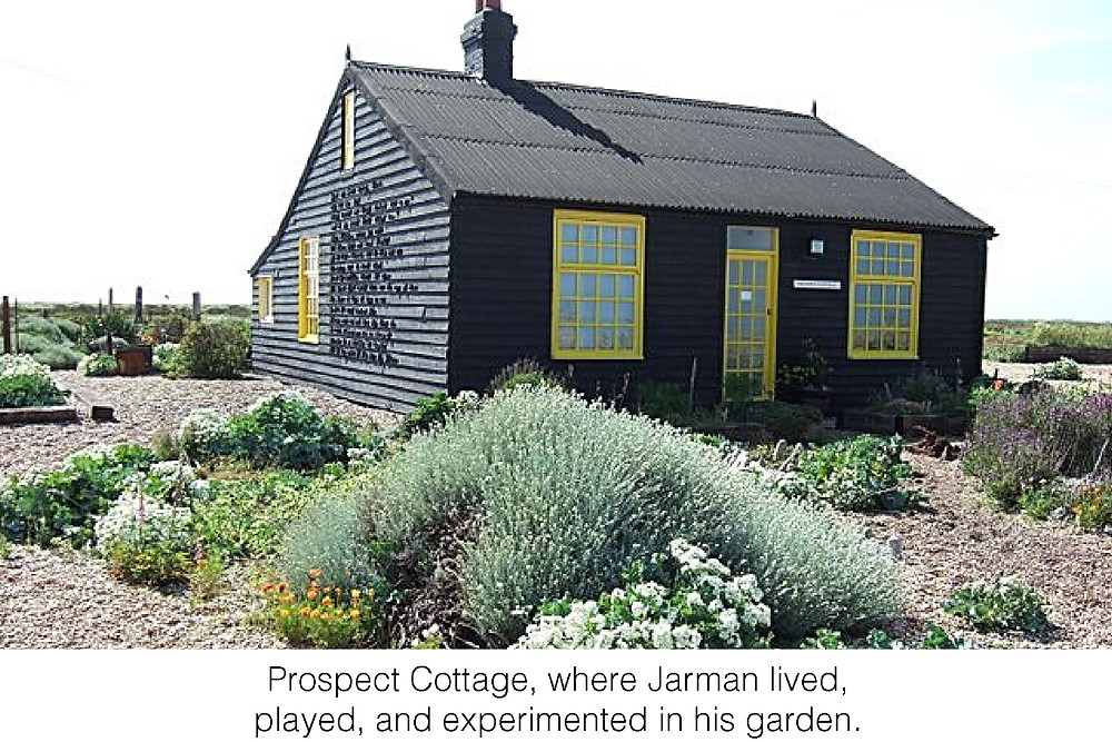 Prospect Cottage, where Jarman lived,  played, and experimented in his garden.
