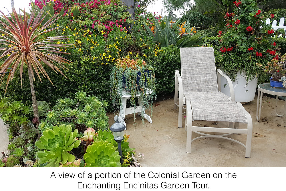 A view of a portion of the Colonial Garden on the Enchanting Encinitas Garden Tour.