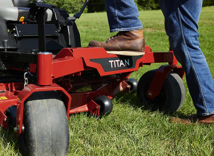 Sturdy, non-slip front step makes for easy entry to your Titan mower.