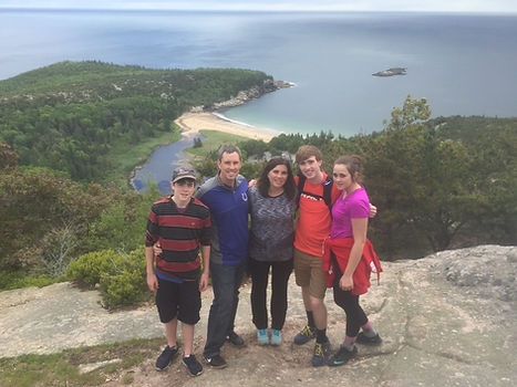 Zirkle family on top of the Beehive - Acadia National Park, Maine