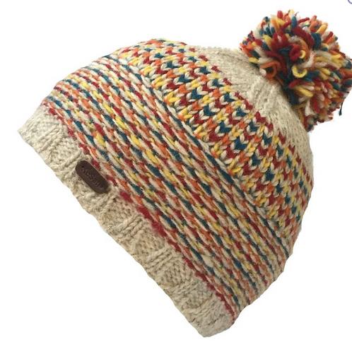Kusan Oatmeal/Red Bobble Hat
