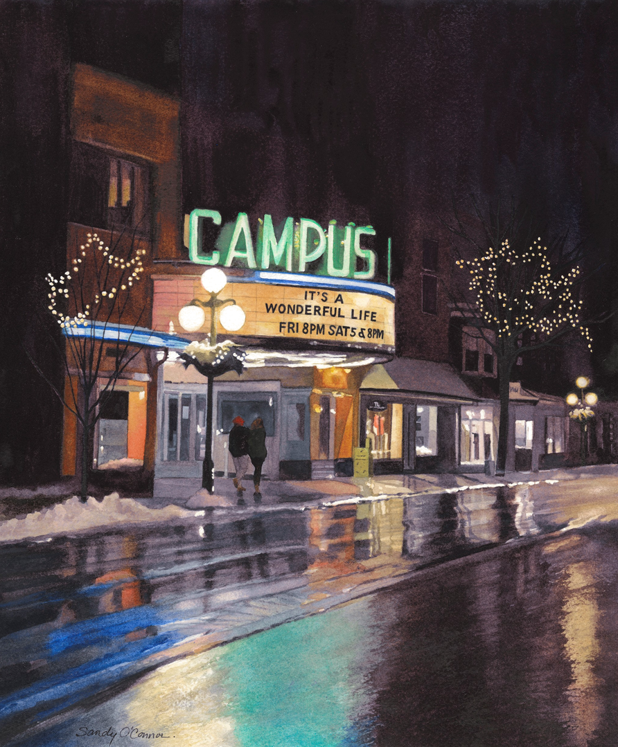 The Campus Theater was our first date 40 years ago ... and this movie is an all time favorite of my husband's. If we win the bid for the painting, we'll give the print to our BU alum daughter for her 25th birthday. This painting is very special for many, many reasons. Wonderful what you are doing for the Campus Theater. – Christie Kelly, Bucknell Alum, Zionsville, IN