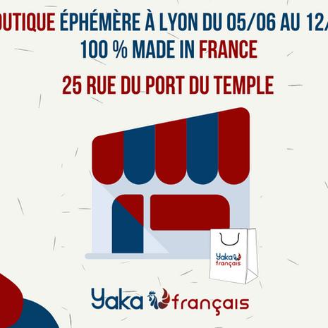 Heureux de vous recevoir à Lyon dans notre Pop Up STORE en collaboration avec YAKA FRANÇAIS