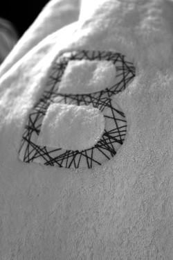 Eponge brodée monogramme Bignon Dervaux
