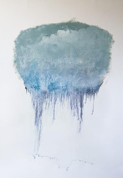 Dominique Rincé Barjou, Travail sur papier, glacis à l'huile, peinture acrilyque, bâton d'huile