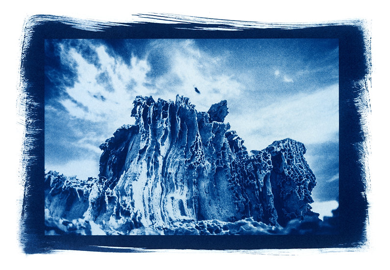""" Rocher dentelle "" Cyanotype on Arches Platine Paper."