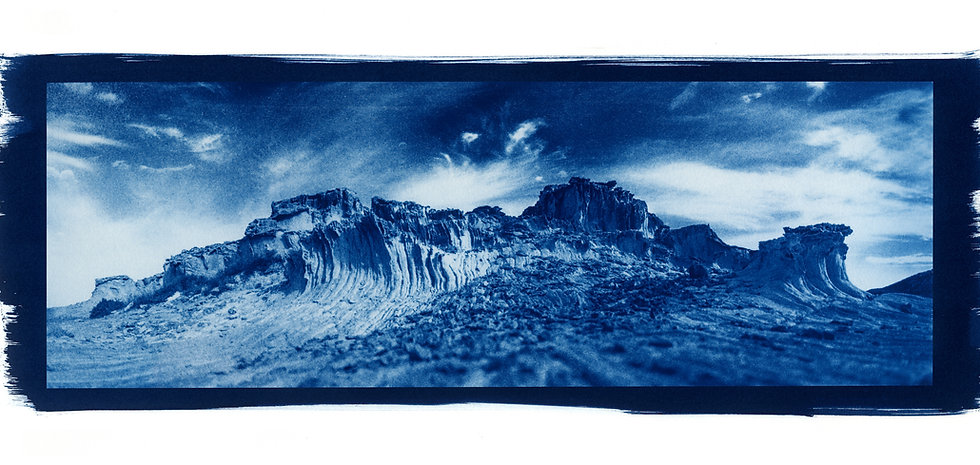 """Antiparos Rocher Panoramic"" Cyanotype on Arches Platine Paper."