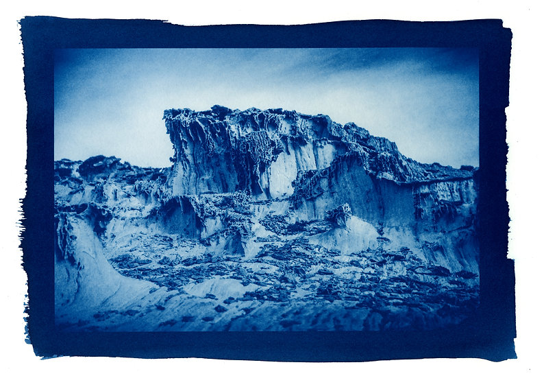 """ Moon landscape "" Cyanotype on Arches Platine Paper."