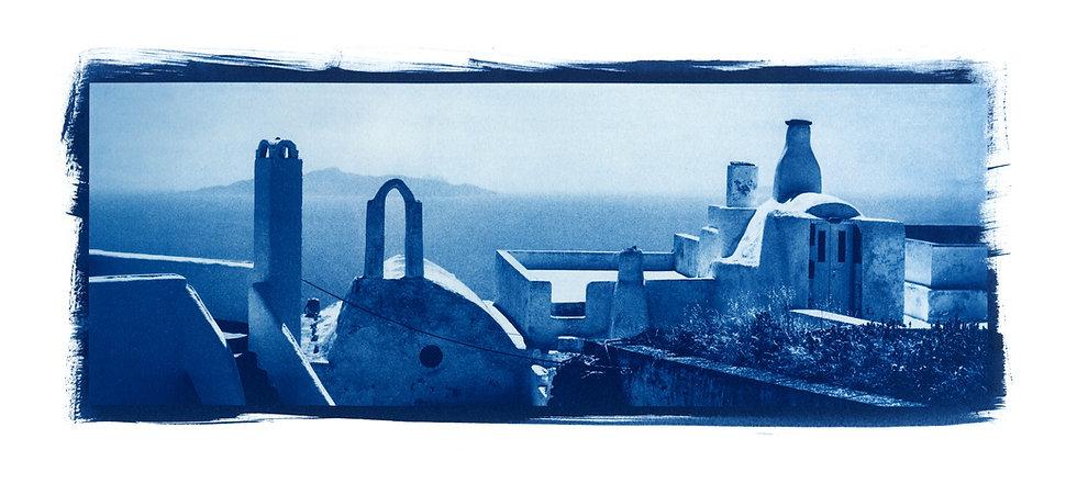 """Toit Santorin Panoramic"" Cyanotype on Arches Platine Paper."