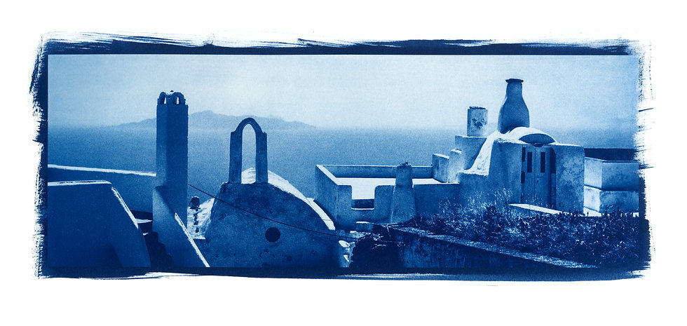 """Toit Santorin Panoramic"" Cyanotype on Arches Platine Paper."