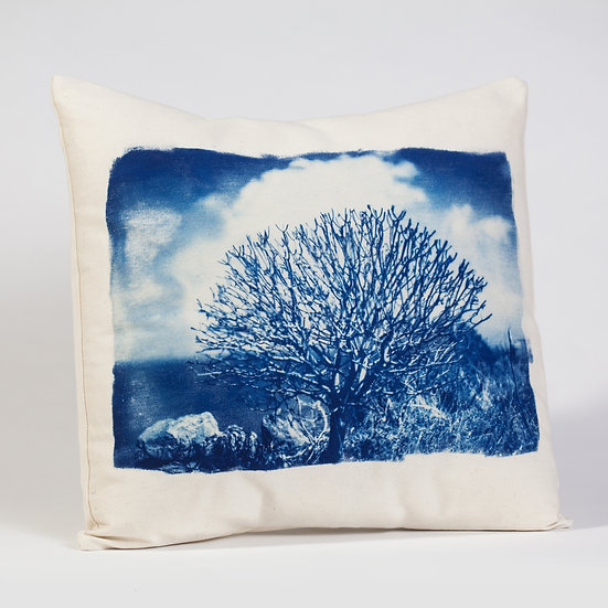 """Cushion cover - cotton fabric - cyanotype print """"Sunny day"""""""
