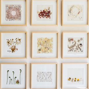 ensemble de 9 poèmes de murs présentés lors de l'installation «Origine, une leçon de choses»