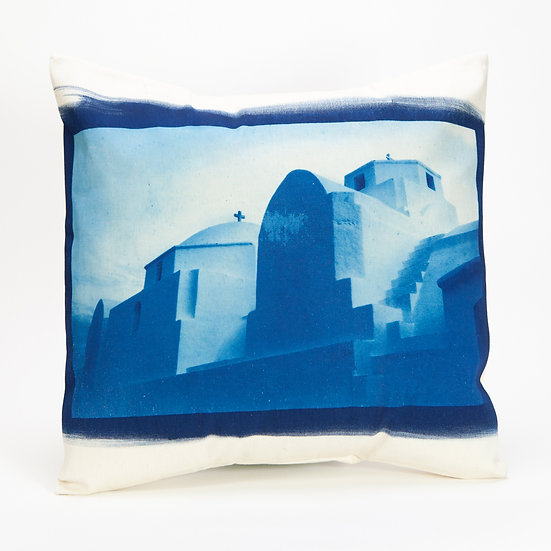 "Cushion cover - cotton fabric - cyanotype print ""Beauty"""