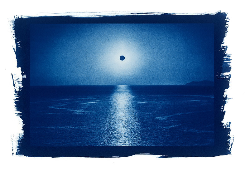 """ Eclipse "" Cyanotype on Arches Platine Paper."