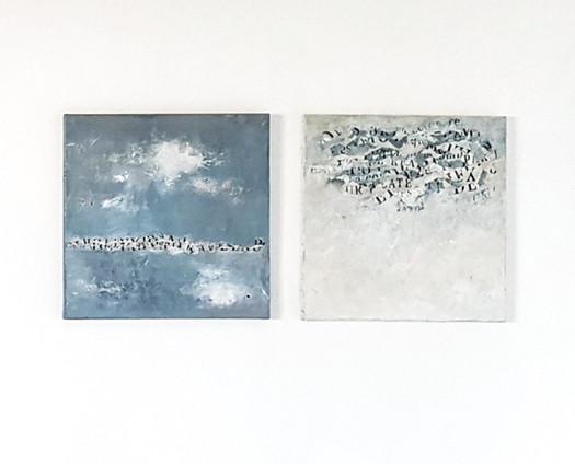 Madé Paintendre présente des toiles peinture et collages qui évoquent les profondeurs du ciel et ses multiples facettes