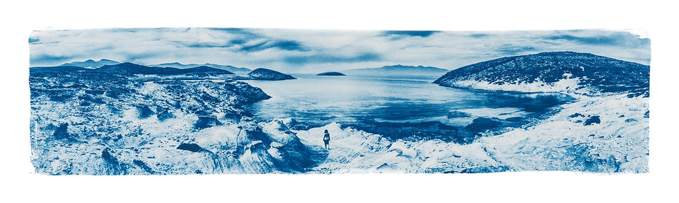 """Antiparos Dora Panoramic"" Cyanotype on Arches Platine Paper."