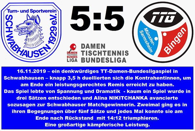 Damen Tischtennis-Bundesliga: Schwabhausen und Bingen trennen sich nach kuriosen Spielverläufen unen
