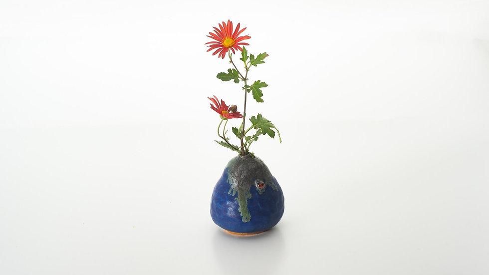 蒼海釉 天道虫 花瓶
