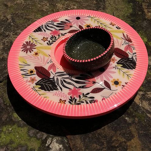 Lilaescarlata - Tabla giratoria con vasija rosa