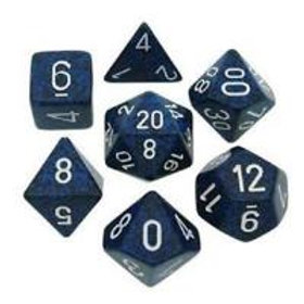 CHESSEX - SET DE 7 DÉS - GRANITE - STEALTH BLEU NUIT/BLANC