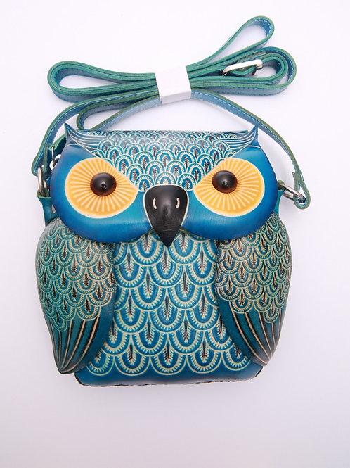 Short Blue Owl Bag