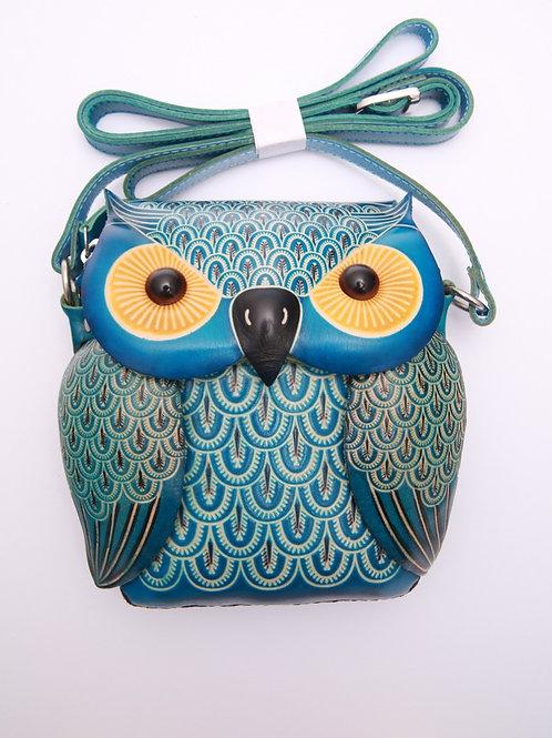 Long Blue Owl Bag