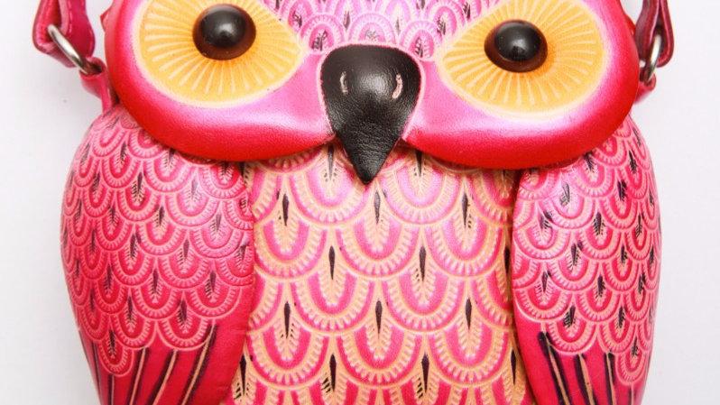 Short Pink Owl Bag