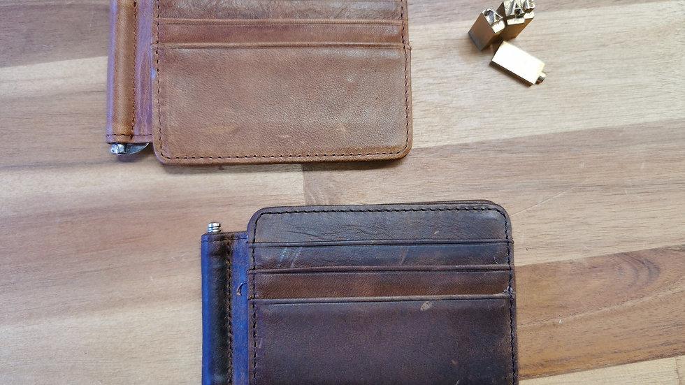 Leather card holder & money clip