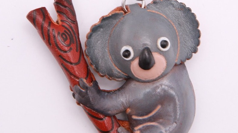 PurseWorld Handmade Leather Koala Keyring