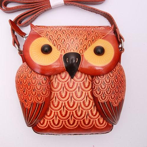 Short Red Owl Bag