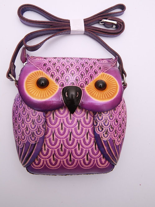 Short Purple Owl Bag
