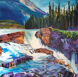 Sunny Day AthabascaFalls 36x36 SOLD