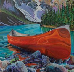 On the Rocks Moraine Lake 36 x 36 $3600