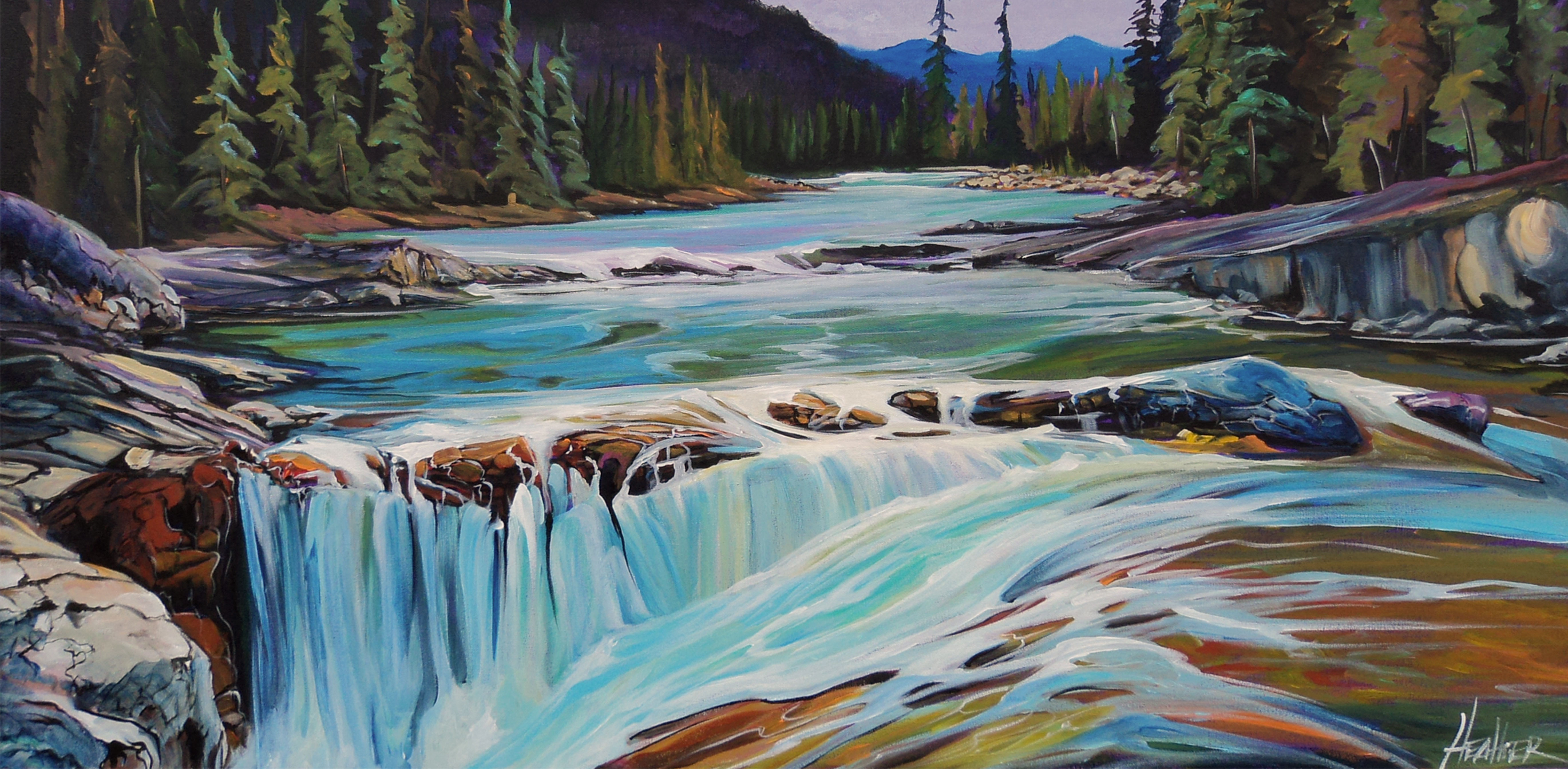Elbow Falls Metamorphic 24 X 48 SOLD